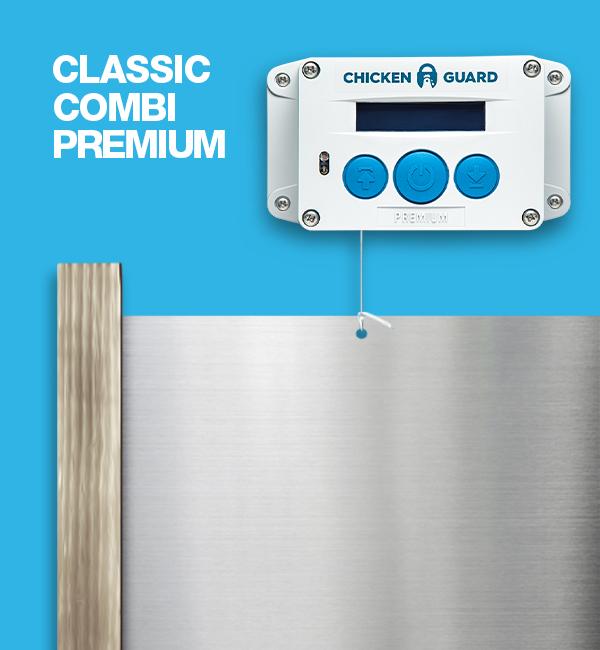 ChickenGuard © Premium, automatische Steuerung für Hühnerklappen - Combi - mit Classic Door Kit