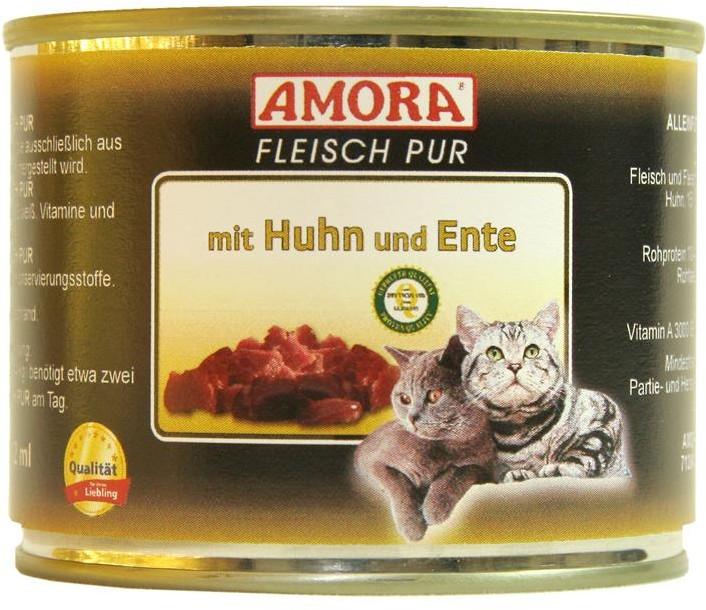 AMORA Cat Fleisch pur mit Huhn & Ente 6x 200g